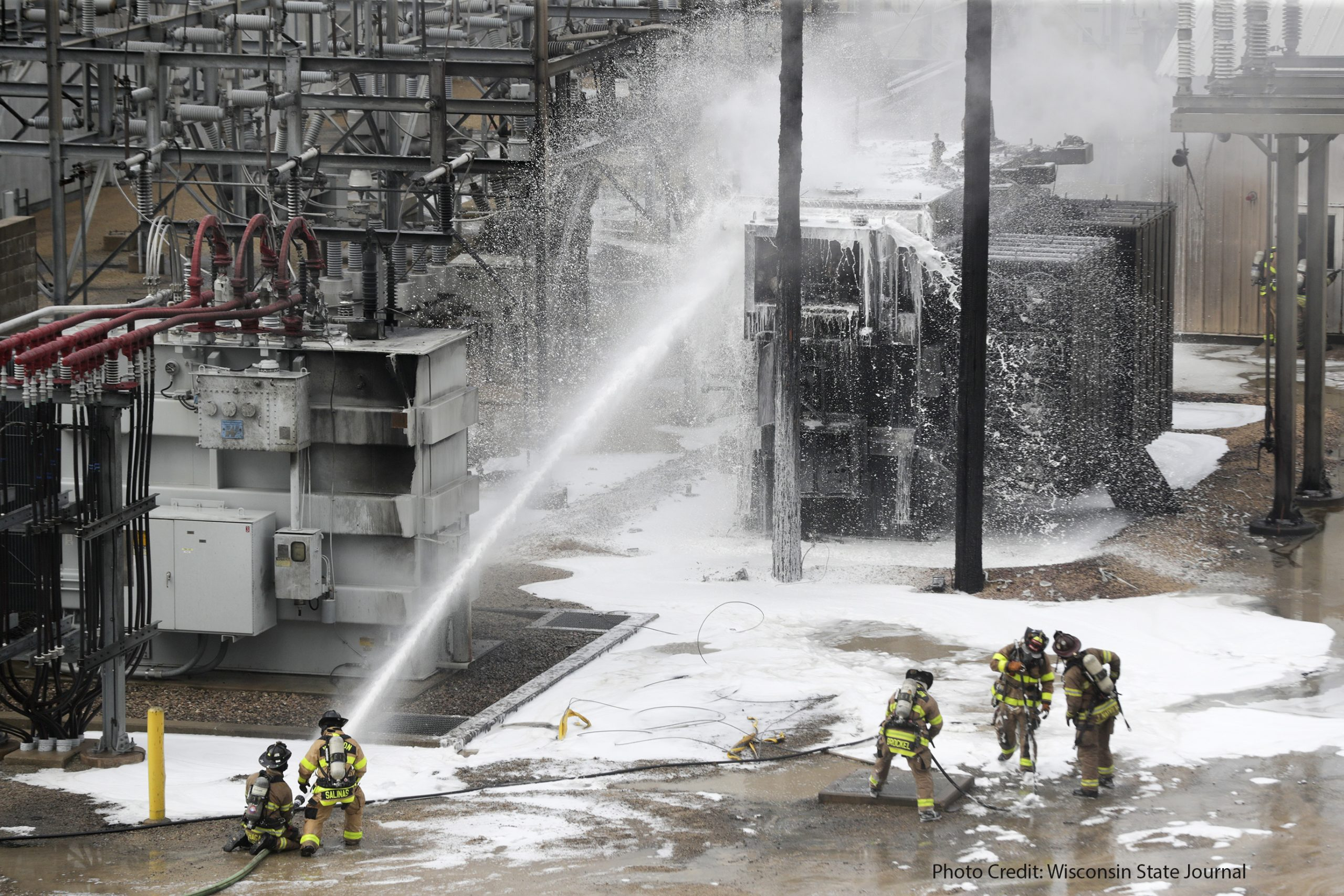 Madison Fire Department uses foam to contain large fire at Madison Gas and Electric