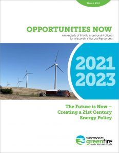 Cover of Energy Report shows windmills next to a farm